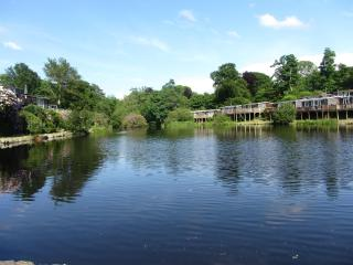 Detached chalet  on the lakeside, Glan Gwna country park.