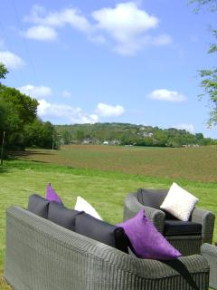 The View from your seating area. Set in the heart of the countryside, yet close to the beach.