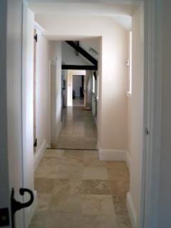 Traverine tiling to all main areas including hallway
