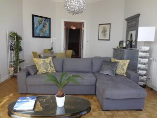 spacious sitting room with sofa bed