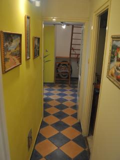 Corridor to bathroom, mezzanine, Bedroom 1 and kitchen