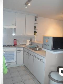 open kitchen with all amenities, including oven, cooking plate, microwave, kettle, toaster, ...
