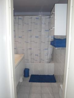 bathroom with towel racks (towels provided)