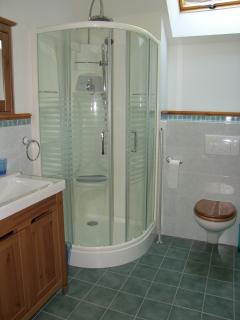 The en-suite bathroom with shower, large wash basin, wc and bath