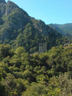 View of St Martin de Canigou monastery