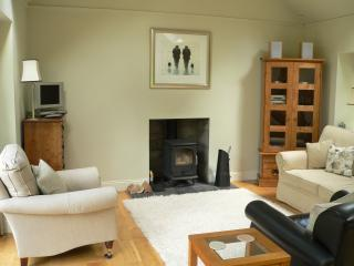 The sitting area with log burning stove