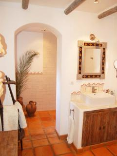 Archway to huge shower room, rain effect shower, body jets & finished with imported Mexican tile