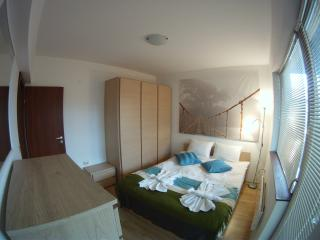 Master bedroom, with kingsize double bed. Plenty of storage with triple wardrobe & chest of draw