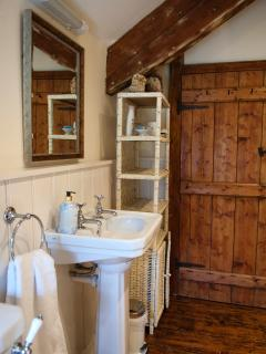 Shower Room, White Basin, Heated towel rail, and Toilet