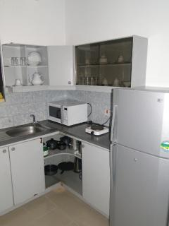 Kitchen with Fridge, Micro, Gas cooker and Utencils