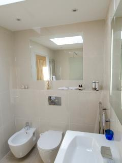 Shower room with large heated mirror toilet and bidet