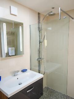 Large walk in shower, sink and illuminated heated mirror with shaver point