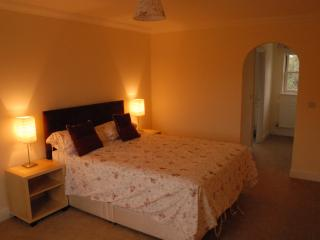 Master Bedroom with king bed not showing TV/DVD and seating, en-suite through arch