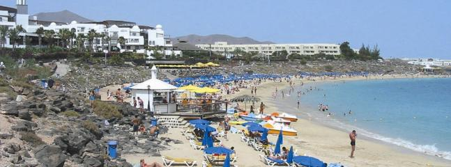 Dorada Beach with restaurants & bars. Sunbeds on beach. 5 mins drive away.