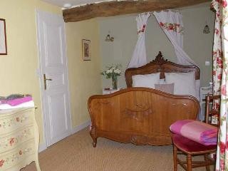 Le Tilleul - double room with antique french carved bed, ensuite with shower. View over terrace.