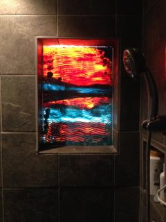 Hand Painted Window by debb in Shower