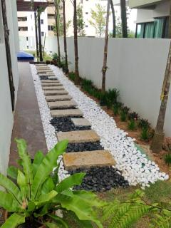 A zen-inspired pebbled pathway
