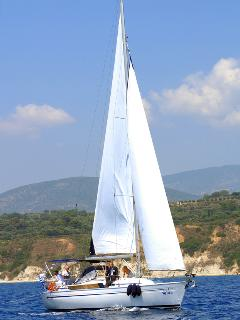Mala under sail off Kefalonia.
