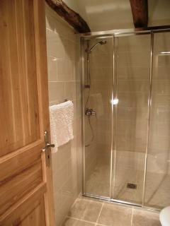 Ensuite shower room for the twin/superking room with a walk in shower, toilet & sink.