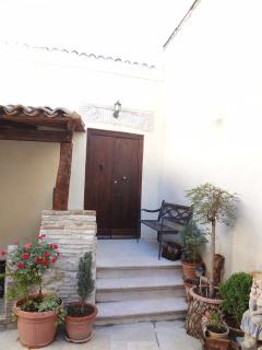 Front door in courtyard.