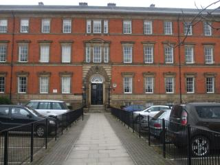 The Historic frontage of County House and car park area