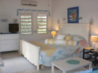 The spacious bedroom area