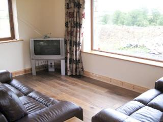 Sitting room with 2 leather couches, wooden floors
