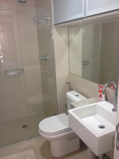 Bathroom with hot shower and storage