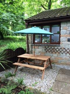 Picnic table with umbrella (photo taken before new windows)