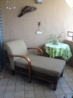 Chaise lounge comfort on the lanai for ocean views, read a book, or nap!