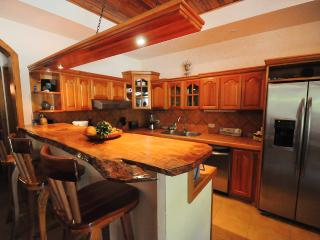 The spacious kitchen and bar area with all-stainless appliances including dishwasher and microwave.