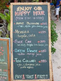 Happy Hour (Cocktails app. USD 2  per Glass)