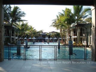 Make a splash in the large resort lagoon pool with pool bar.