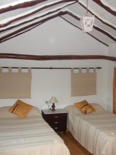 Twin bedroom showing original beamed ceiling