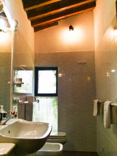 The bathroom, the shower is en-suite in the twin room.
