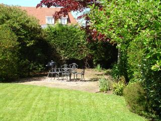 The BBQ area in the very secluded  secure garden.Relaxed  alfresco dining on sunny days