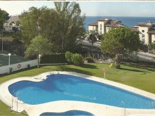 view from the sitting room over the swimming pool towards the Mediterranean Sea