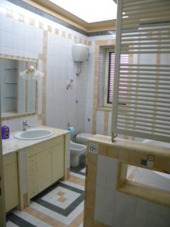 bathroom with 2 sinks, bidet, shower, hot-tub