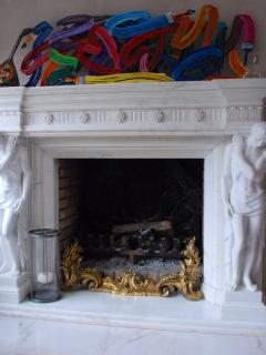 Fireplace made with marble