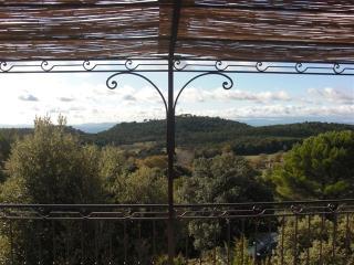 Vue depuis la terrasse:pas de vis à vis,mais au loin,les Maures et l'Esterel
