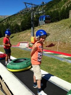 Tubing at the top of Canillo cablecar