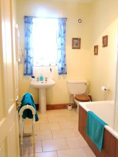 Bathroom with views over fields