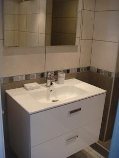 Vanity unit in bathroom