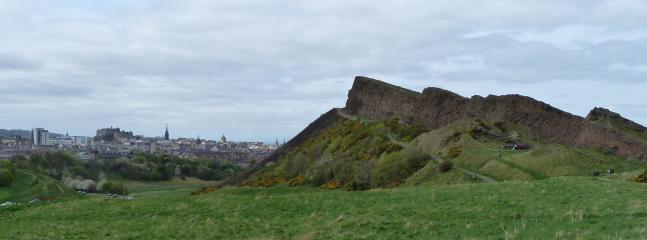 Salisbury Crags loom over the Edinburgh skyline