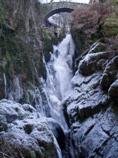 Aira Force is a spectacular waterfall between the cottage and Ullswater