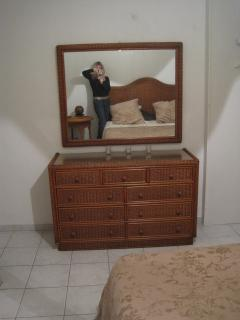bedroom-large colonial style dresser and mirror