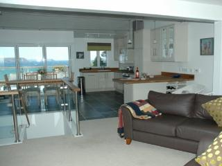 Sitting room, kitchen & sea view