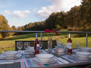 Dinner on the terrace overlooking the garden and meadow