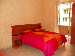 Red room with double bed