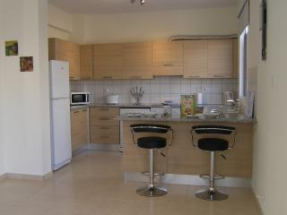 Well equipped kitchen with breakfast bar.